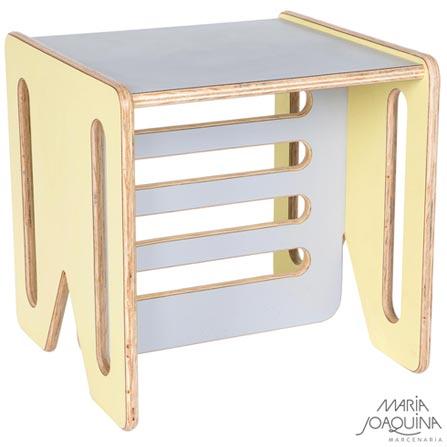 Cadeira Infantil Cubo Amarelo Claro e Cobalto - Maria Joaquina, Amarelo e Cobalto, Madeira, Madeira e laminado, 50 kg