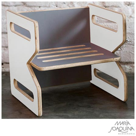 Cadeira Infantil Cubo Branco e Cinza Cobalto - Maria Joaquina, Branco e Cobalto, Madeira, Madeira e laminado, 50 kg