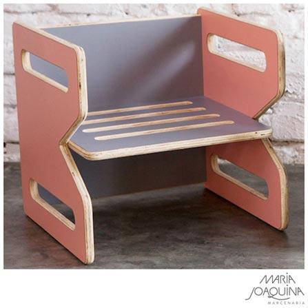 Cadeira Infantil Cubo Rosa claro e Cinza Cobalto - Maria Joaquina, Rosa e Cobalto, Madeira, Madeira e laminado, 50 kg