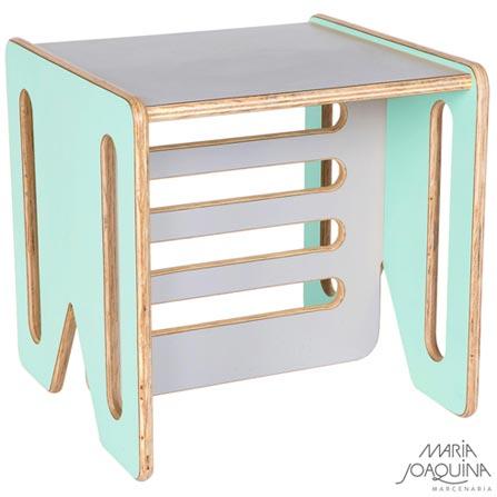Cadeira Infantil Cubo Verde Claro e Cinza cobalto - Maria Joaquina, Verde e Cobalto, Madeira, Madeira e laminado, 50 kg