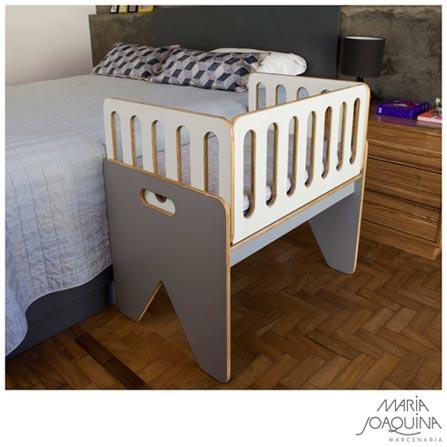 Mini Berço Cosleeper Pé Bandeira Branco e Cinza Cobalto - Maria Joaquina, Branco, Madeira, Madeira, 90 kg, Sim