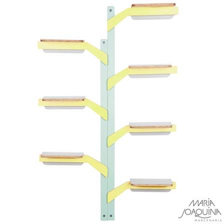 Estante Maria Joaquina Árvore Quebra-Galho Verde, Amarelo, Cinza Cobalto, Amarelo, Compensado e laminado, 12 meses