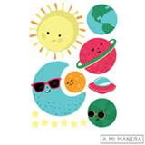 Cartela de Adesivos de Parede em Vinil Estelar Lua Cool Colorido AD006 - A Mi Manera