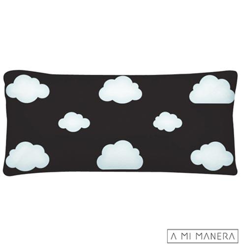 Almofada de Decoração Nuvem Preta e Off White - A Mi Manera, Preto e Branco, Algodão e Fibra siliconada, 03 meses