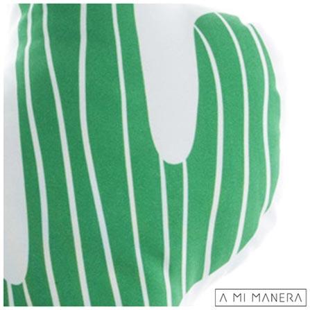 Almofada de Decoração Cactos Cool! Verde e Branca - A Mi Manera, Verde e Branco, Poliéster e Fibra siliconada, 03 meses