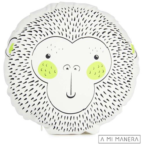 Almofada de Decoração Redonda Macaco Wild Life - A Mi Manera, Branco, Algodão e Fibra siliconada, 03 meses