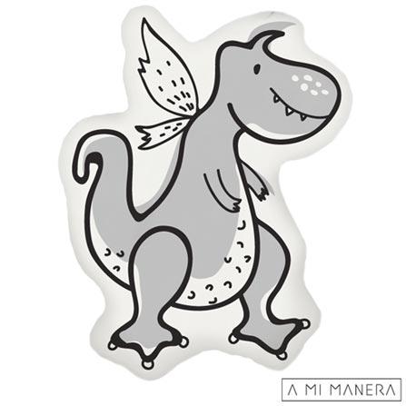 Almofada de Decoração Formato Dino - A Mi Manera, Cinza, Algodão e Fibra siliconada, 03 meses