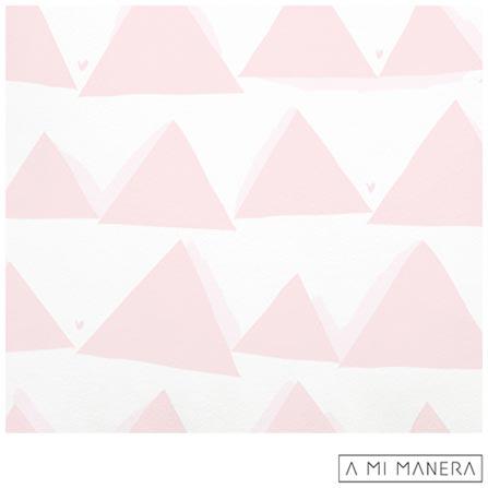 Almofada de Decoração Triângulos Branca e Rosa - A Mi Manera, Branco e Rosa, Algodão, 03 meses