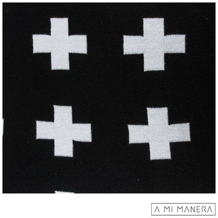 Almofada de Decoração Cruz em Tricô Preto e Branco - A Mi Manera, Preto e Branco, Algodão e Acrílico, 03 meses