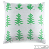 Almofada de Decoração Pinheiros em Tricô Branco e Verde - A Mi Manera