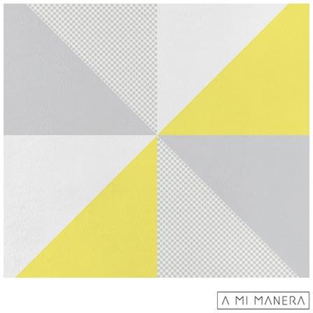 Almofada de Decoração Triângulos em Tricô Cinza, Branca e Amarela - A Mi Manera, Cinza e Amarelo, Algodão e Acrílico, 03 meses