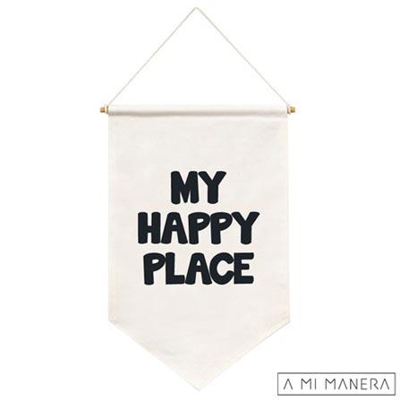 Flag de Parede My Happy Place 100% Algodão - A Mi Manera, Branco e Preto, Algodão, 03 meses