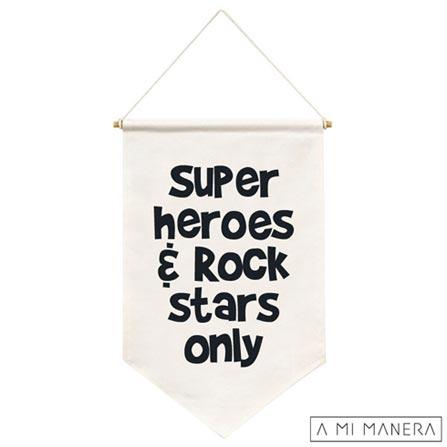 Flag de Parede Super Heroes 100% Algodão - A Mi Manera, Branco e Preto, Algodão, 03 meses