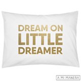 Fronha de Solteiro Dream on Little Dreamer Branco e Dourado - A Mi Manera