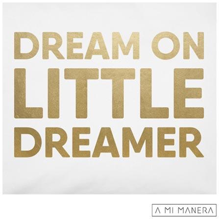Fronha para Berço Dream on Little Dreamer Branco e Dourado - A Mi Manera, Branco e Dourado, Berço, 01 Peça, Algodão, Não, 03 meses
