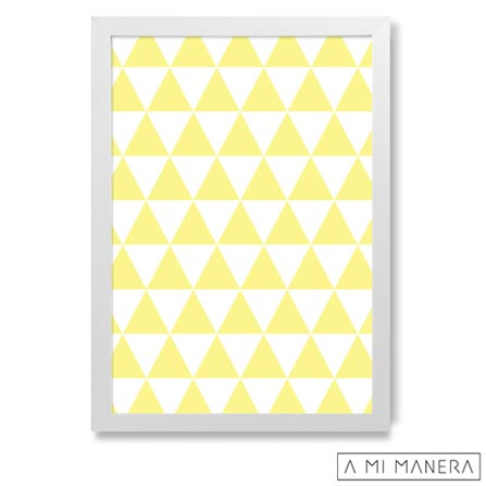 Pôster A5 com Moldura Triângulos - A Mi Manera, Amarelo e Branco, Papel, madeira e vidro, 03 meses