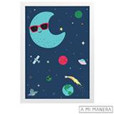 Pôster A4 com Moldura Lua Cool - A Mi Manera