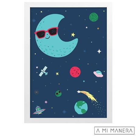 Pôster A4 com Moldura Lua Cool - A Mi Manera, Colorido, Papel, madeira e vidro, 03 meses