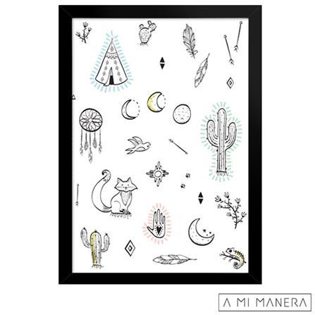 Pôster A5 com Moldura Deserto - A Mi Manera, Colorido, Papel, madeira e vidro, 03 meses