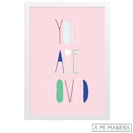 Pôster A4 com Moldura Loved - A Mi Manera, Rosa, Papel, madeira e vidro, 03 meses