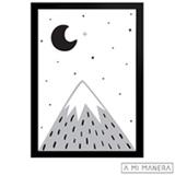 Pôster A3 com Moldura Montanha e Lua - A Mi Manera