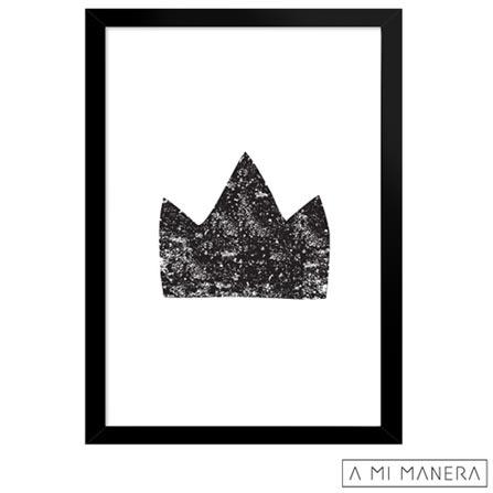 Pôster A3 com Moldura Coroa - A Mi Manera, Preto e Branco, Papel, madeira e vidro, 03 meses