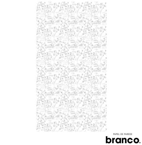 Papel de Parede Floresta Sandra Javera Preto e Branco - Branco. Papel de Parede, Não se aplica, Celulose e PVC, 60 meses, Com cola