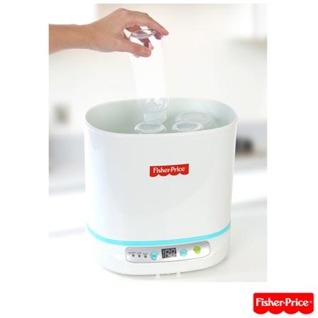 Esterilizador Digital a Vapor para Mamadeiras e Acessórios com Capacidade para 06 Mamadeiras BB30 - Fisher Price, 110V, 220V, Branco e Azul, 12 meses