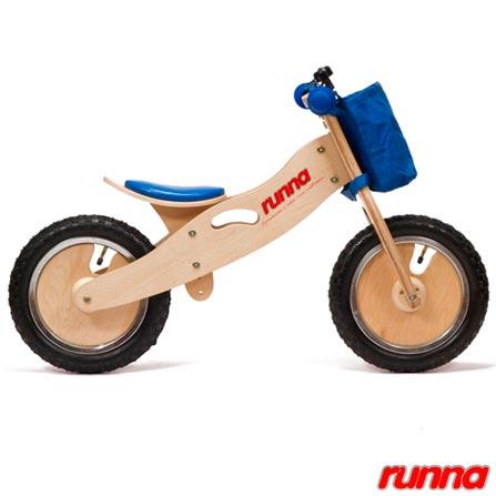 Bicicleta de Equilibrio em Madeira Runna Bike Aro 12 Azul, Azul, Madeira, 5, A partir de 24 meses, 06 meses