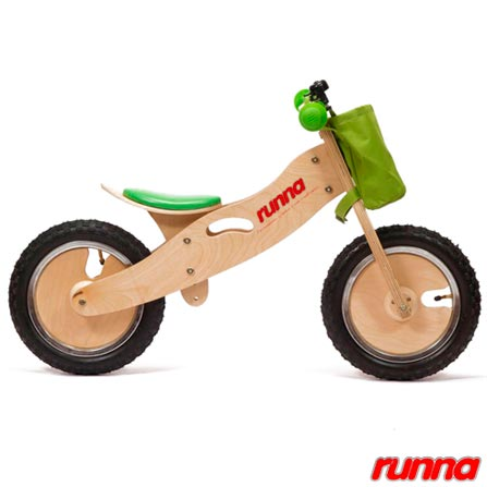 Bicicleta de Equilibrio em Madeira Runna Bike Aro 12 Verde, Verde, Madeira, 5, A partir de 24 meses, 06 meses