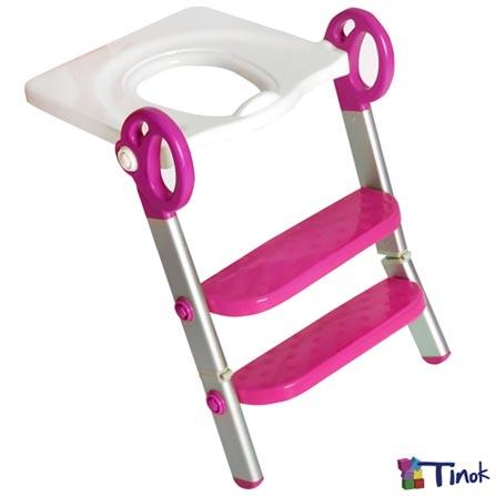 Redutor de Assento Toily Rosa e Branco - Tinok, Rosa e Branco, Redutores, Alumínio e PVC, 06 meses