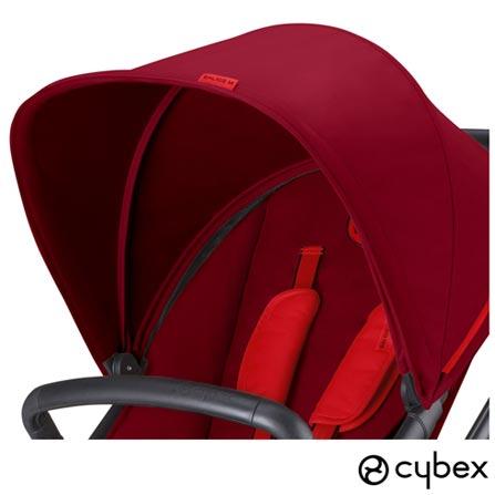 Carrinho de Bebe Balios M Vermelho - Cybex -  BALIOSM + Bebe Conforto Aton Preto e Cinza + Adaptador M-Line, 1