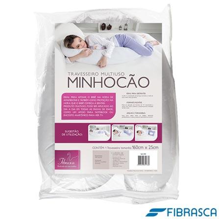 Travesseiro de corpo Minhocão 25x160cm Branco - Fibrasca, Branco, 03 meses