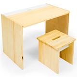 Mesa de Atividades com Porta Lapis Cookie Branco Pinus + Banco Cookie com 1 Lugar Branco e Pinus - FS Design