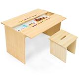 Mesa de Atividades com Porta Lapis Grande Cookie Branco Pinus + Banco Cookie Branco e Pinus - FS Design