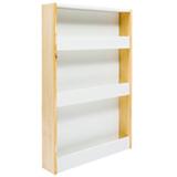 Estante de Parede para Livros Cookie com 3 Prateleiras Pinus e Branco - FS Design