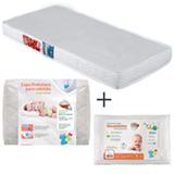 Colchao Baby Light D18 Ortobom Branco + Capa Protetora em Malha Branca Fibrasca + Travesseiro Infantil Nasa Fibrasca