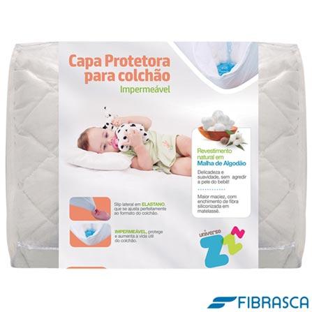 Colchao Baby Light D18 Ortobom Branco + Capa Protetora em Malha Branca Fibrasca + Travesseiro Infantil Nasa Fibrasca, 1