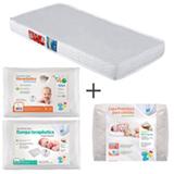 Colchao D18 Ortobom Branco + Capa Protetora Fibrasca + Travesseiro Infantil Fibrasca + Almofada Infantil Fibrasa
