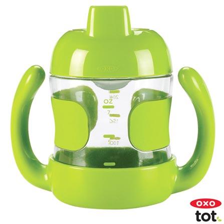 Copo Anti-Vazamento Tot 210 ml Verde com Alca - Oxo Tot, Verde, Plástico, 0,21 Litros, Não, 12 meses