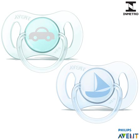 Mini Chupeta Philips Avent com 02 unidades, Bico de Silicone e Capa Protetora Azul e Verde, Azul e Verde, Silicone, de 0 a 2 meses, 03 meses