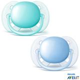 Chupeta Philips Avent Ultra Shoft com Bico em Silicone e Caixa Protetora Azul e Verde Água