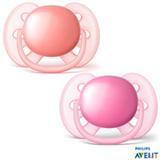 Chupeta Philips Avent Ultra Shoft com Bico em Silicone e Caixa Protetora Laranja e Rosa