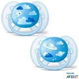 Chupeta Philips Avent Ultra Shoft com Bico em Silicone e Caixa Protetora Nuvem e Planeta Azul