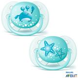Chupeta Philips Avent Ultra Shoft com Bico em Silicone e Caixa Protetora Caranguejo e Estrela Verde Água