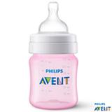 Mamadeira Clássica 125 ml Rosa com Bico em Silicone - Philips Avent