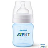 Mamadeira Clássica 125 ml Azul com Bico em Silicone - Philips Avent