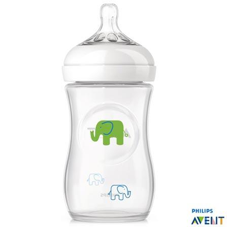 Mamadeira Pétala Elefantes 260 ml com Bico em Silicone Azul e Verde - Philips Avent, Não se aplica, Plástico e Silicone, 0,26 Litros, 03 meses