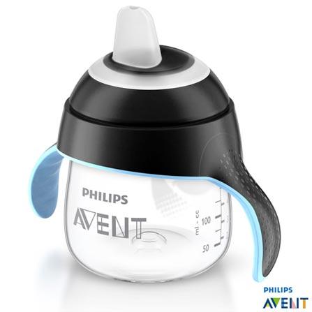 Copo Pinguim 200 ml Preto com Bico em Silicone e Alça - Philips Avent, Preto, Polipropileno, 0,2 Litros, Não, 03 meses