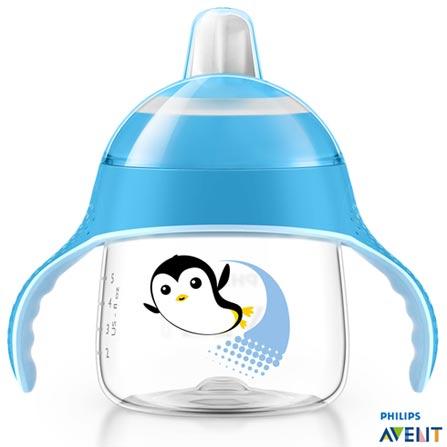 Copo Pinguim 200 ml Azul com Bico e Alça - Philips Avent, Azul, Polipropileno, 0,2 Litros, Não, 03 meses
